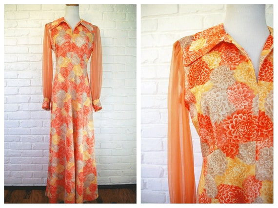 70's Gown with Fall Colors and Sheer Sleeves Maxi