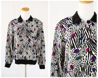 Zebra and Animal Print Shirt 80's New Wave // Neon 80's Colorful Collared Shirt / Blouse