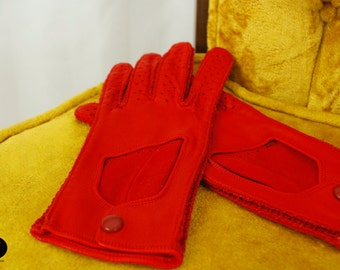 Driving Gloves Red Leather // Kid Skin Leather Red Vintage Winter Gloves 1960's // Size 7 1/2 Gloves // Croquet
