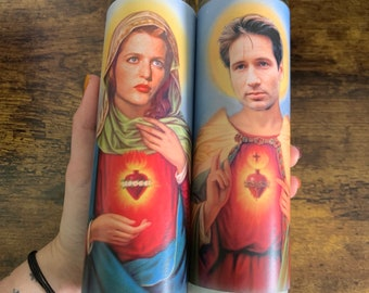 X Files Prayer Candle, Mulder prayer Candle, Scully Religious Candle, Aliens Candle