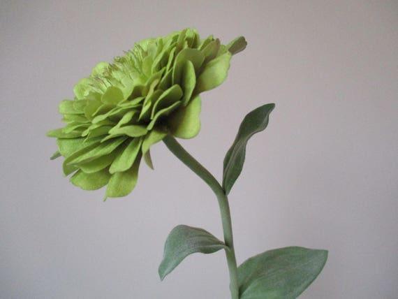 3 Green Zinnia Floral Stems 26 Long Stem 3.5 Wide Bloom Silk Floral Supplies DIY  Home Decor Flowers #221B