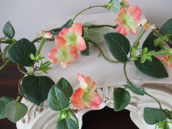 Flowering branch coral peach stephanotis silk flower branch etsy image 0 mightylinksfo