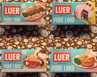 Vintage Luer Lard Box Kitchen Bakery Diner Decor Classic Retro Colors