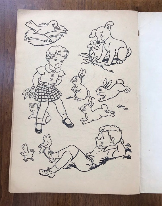 Vintage Coloring Book Unused 1930\'s Paint Book Merrill Publishing S.  Wendell Campbell Illustrious RARE