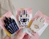 Hamsa Hand Brooch, Miniature Ceramics, Hamsa Hand Brooch, Evil Eye Pin, Evil Eye Jewellery, Hand Jewellery, Ceramic Brooch, Gift For Her