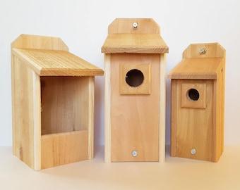 Cedar Bluebird House, Chickadee House, and Nesting Box