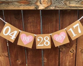 Save the Date Banner / Engagement Banner / Engagement Photo Prop / Wedding Date Banner /