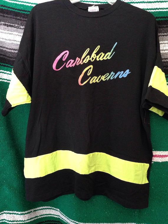 90s NEON Multicolored Carlsbad Caverns Shirt XL