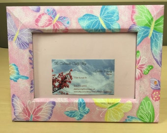 Pink Butterflies Wrapped Wooden Frame
