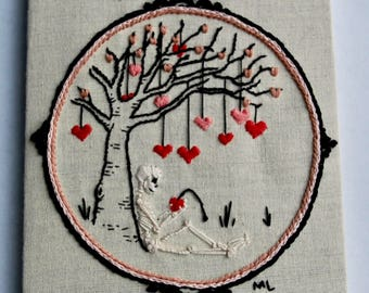 Love Doesn't Grow On Trees * Hand Embroidered, Needle Art Skeleton and Heart Tree * OOAK
