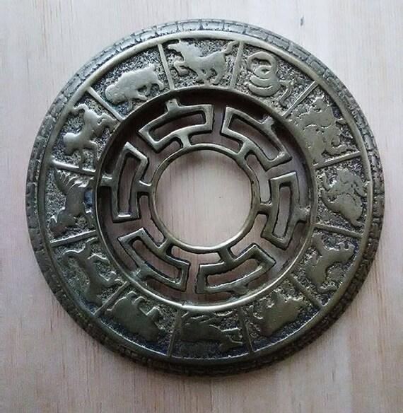 Vintage Brass Plate With Chinese Zodiac Symbols Asian Zodiac Etsy