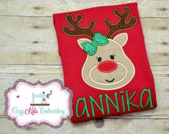 Christmas Shirt, Girls Christmas Shirt, Reindeer Shirt, Reindeer Applique Shirt, Reindeer Embroidery Shirt, Custom Shirt, Personalized Shirt