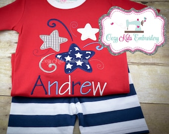 Summer Pajamas, Fourth of July Pajamas, Patriotic Pajamas, Boy Pajamas, Girl Pajamas, Firework Star Pajamas, Custom Embroidery Applique