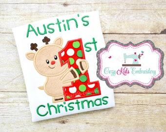 First Christmas shirt bodysuit bib girl boy kid child baby toddler infant embroidery monogram personalized name
