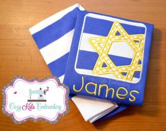 Hanukkah pajamas, Holiday Pajamas, Star of David Pajamas, Menorrah Pajamas, boy girl kid child embroidery applique custom name monogram
