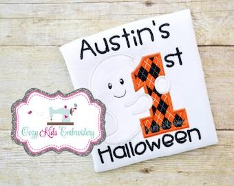 First Halloween bodysuit bib girl boy baby toddler infant kid child embroidery applique monogram personalized custom name