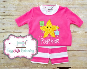 Summer Pajamas, Vacation Pajamas, Beach Pajamas, Girl's Pajamas, Starfish Pajamas, Custom Pajamas, Embroidery Pajamas, Applique Pajamas