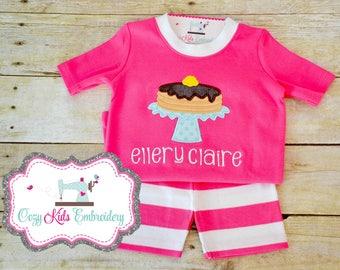 Pancake Birthday Pajamas, Pancake Pajamas, Pancake PJ, Summer Pajamas, Girl Pajama, Boy Pajama, Custom Pajama, embroidery, applique