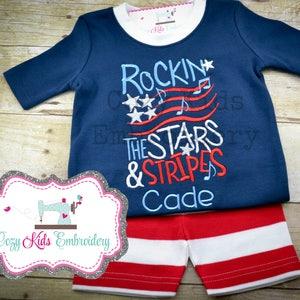 4th of July PJS Applique Pajamas Star Pajamas Girl Pajamas, Fourth of July Pajamas Summer Pajamas Patriotic Pajamas