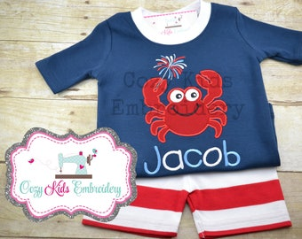 Summer Pajamas, Fourth of July Pajamas, Patriotic Pajamas, Boy Pajamas, Girl Pajamas, Crab Pajamas, Custom Embroidery Applique Pajamas