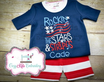 Summer Pajamas, Fourth of July Pajamas, Patriotic Pajamas, Boy Pajamas, Girl Pajamas, Stars and Stripes Pajamas, Custom Embroidery Applique