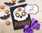 Sugar Skull Halloween t-shirt, Girl 39 s Halloween Shirt, Skull Shirt, Kid 39 s Skull Shirt, Children 39 s Skull Shirt, Personalized, Embroidery