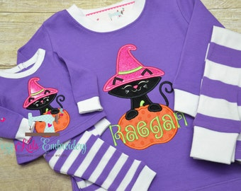 halloween pajama halloween pj fall pajama girl pajama child pajama toddler infant baby custom personalized mongram embroidery applique
