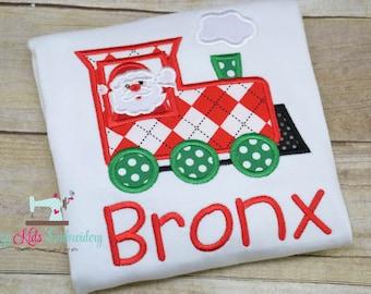 Santa train applique shirt boy girl kid child toddler infant baby custom embroidery monogram name personalized