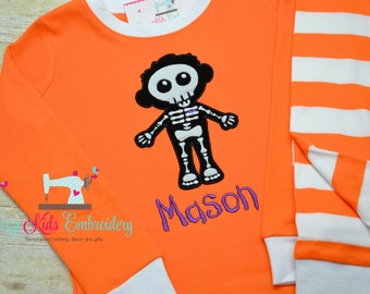Halloween pajama, Halloween pj, Glow in the Dark Pajama, fall pajama, boy girl kid child toddler infant baby custom personalized mongram