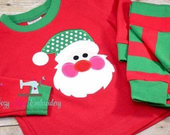 Christmas Pajamas, Christmas PJ, Holiday Pajamas, Holiday Pj, Santa applique, Santa Embroidery, Girl Boy Pajamas, Girl Boy PJ, Family Pajama