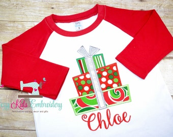 Christmas Shirt, Holiday Shirt, Present Shirt, girl boy kid child toddler infant baby custom embroidery monogram name personalized