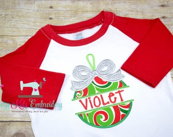 Christmas Shirt, Holiday Shirt, Ornament Shirt, girl boy kid child toddler infant baby custom embroidery monogram name personalized