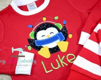 Christmas Pajamas, Christmas PJ, Holiday Pajamas, Holiday PJ, Applique, Embroidery, Penguin Pajama, Penguin PJ, Girl Boy Pajama