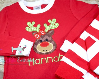 Christmas Pajamas, Christmas PJ, Holiday Pajamas, Holiday PJ, Applique, Embroidery, Reindeer Pajama, Reindeer PJ, Girl Boy Pajama