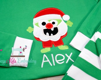 Christmas pajamas, Holiday Pajamas, Santa Pajamas, boy girl child kid baby toddler infant custom personalized monogram xmas pjs christmas