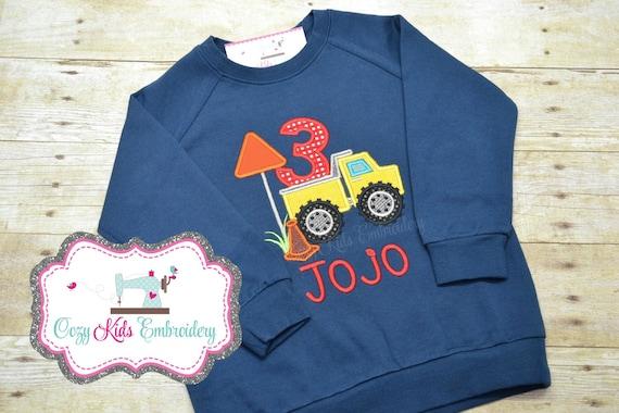 Camion anniversaire Sweatshirt, Sweatshirt anniversaire, garçons anniversaire Sweatshirt, troisième anniversaire Sweatshirt, Sweatshirt camion