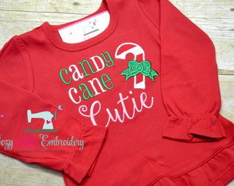 Candy Cane Cuite Shirt, Candy Cane Shirt, Girl's Christmas Shirt, Candy Cane Embroidery Shirt