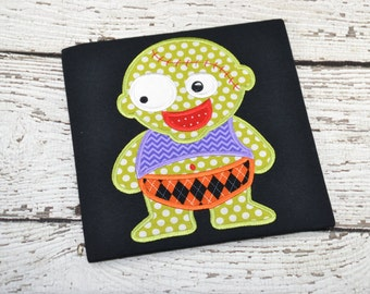 Baby zombie Halloween Fall shirt boy girl kid child toddler infant embroidered applique monogram personalized name custom