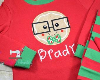 Christmas pajamas boy girl child kid baby toddler infant custom personalized monogram name xmas pjs christmas long short sleeve pants shorts