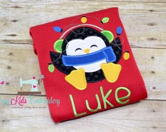 Penguin Christmas Shirt, boy girl kid child toddler infant baby custom embroidery monogram name personalized