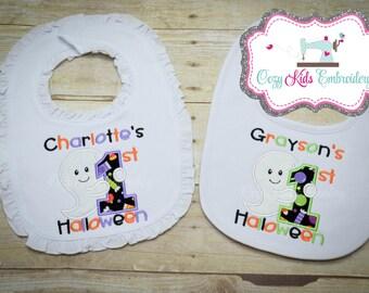 First Halloween Bib, 1st Halloween Bib, Halloween Embroidery, Halloween Applique, Brother Sister Bibs, Twin Bibs,