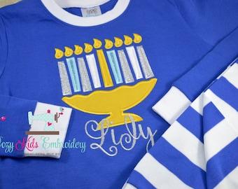 Christmas Hanukkah pajamas boy girl kid child embroidery applique custom name monogram menorah