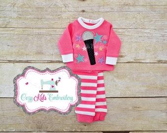 Rock Star Doll pajamas, Microphone doll pj, Doll pajamas, doll pj, applique embroidery monogram custom name pjs