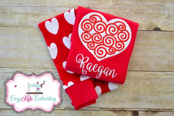 Valentine/'s Day pajamas Valentine/'s Day Pj girl child kid baby toddler infant applique embroidery monogram name Monogram pajamas