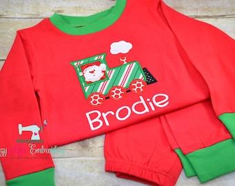 Christmas pajamas, santa train polar express boy girl child kid baby toddler infant custom monogram name xmas pjs long sleeve pants