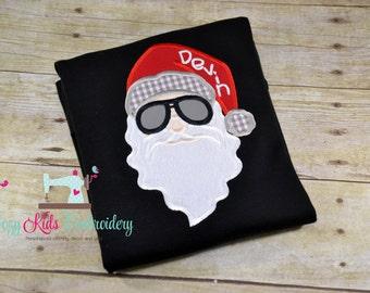 Santa Sunglasses Shirt, Christmas Shirt, boy girl kid child toddler infant baby custom embroidery monogram