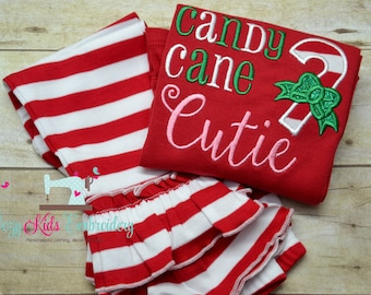 Christmas Outfit, candy cane cutie shirt, Applique, Embroidery, Girl shirt, girl ruffle pants
