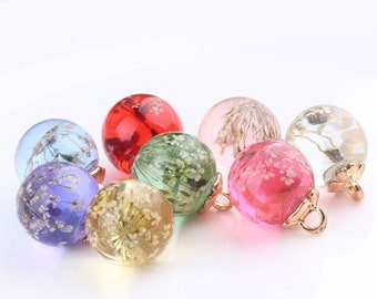 Little Glass Ball Charm Pendant Gold Tone Drop Handmade Jewelry Finding 12mm 16mm 10 pcs