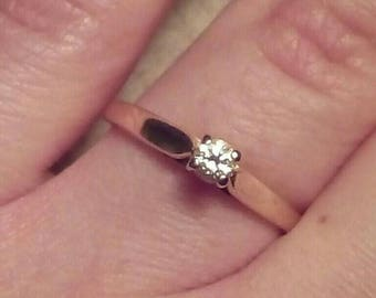 14k gold 3mm diamond solitaire ring / 583 yellow gold ring / 11 point diamond / engagement or promise ring / genuine diamond