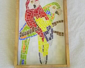 Mosaic shadow box, parrot shadow box, glass mosaic tile art, mixed media, mosaic bird art, glass art shadow box